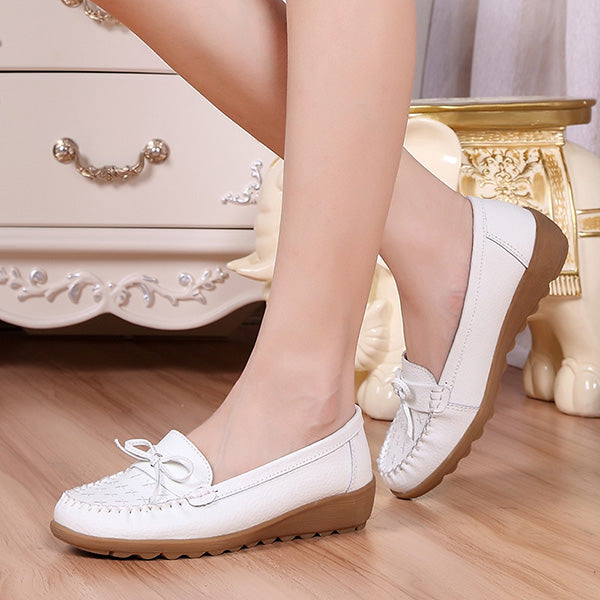 Women's Leather Non-Slip Cosy Wedge Causal Shoes