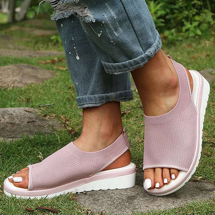 Summer Flyknit Flat Peep Toe Sandals