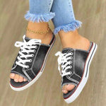 Summer canvas sandals flip-flop denim Lace Up shoes