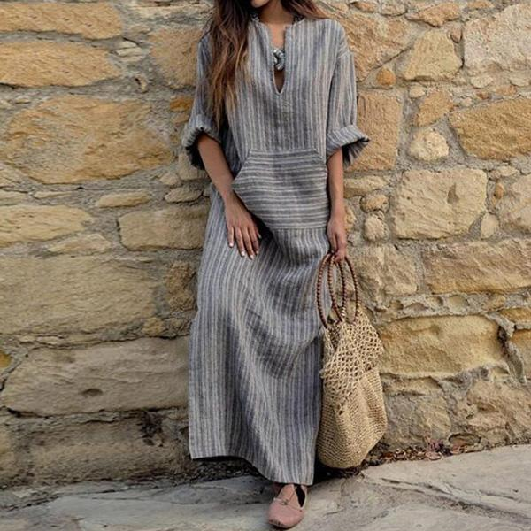 Cotton-Linen Striped Maxi Dresses - MagCloset