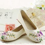 Vintage Embroidered Women Flats Flower Slip On Cotton Fabric Linen Comfortable Flat Shoes