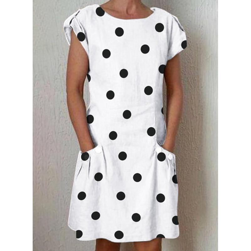 Polka Dot Crew Neck Women Shift Dresses