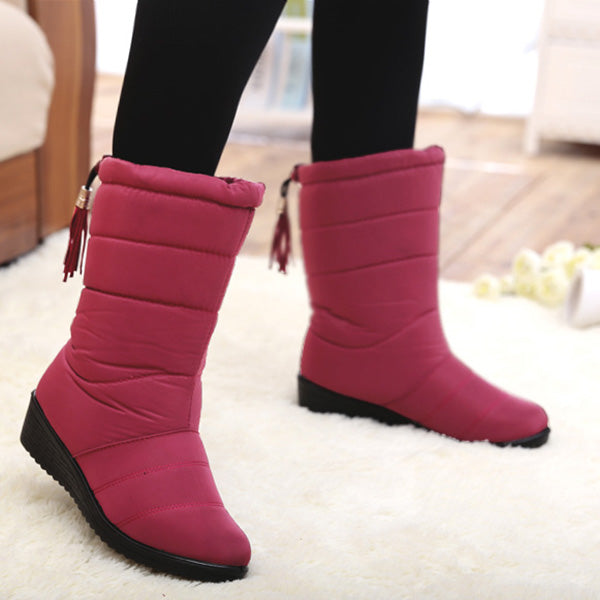 Winter Down Boots Waterproof  Mid-Calf Snow Boots for Women