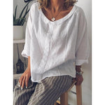 Peter Pan Collar Long Sleeve Cotton Bouses