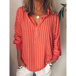 Long Sleeve Casual Stripes Printed Blouse Shirt