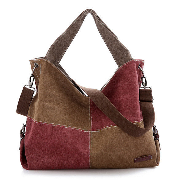 Womens Canvas Portable Large-Capacity Shoulder Bag Crossbody Bag