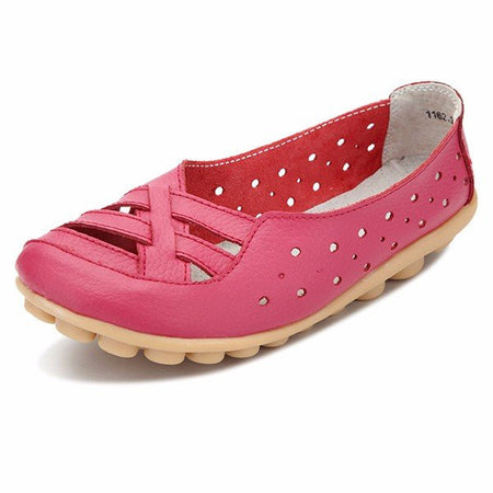Leather Pure Color Hollow Out Breathable Soft Sole Slip On Flat Shoes - MagCloset