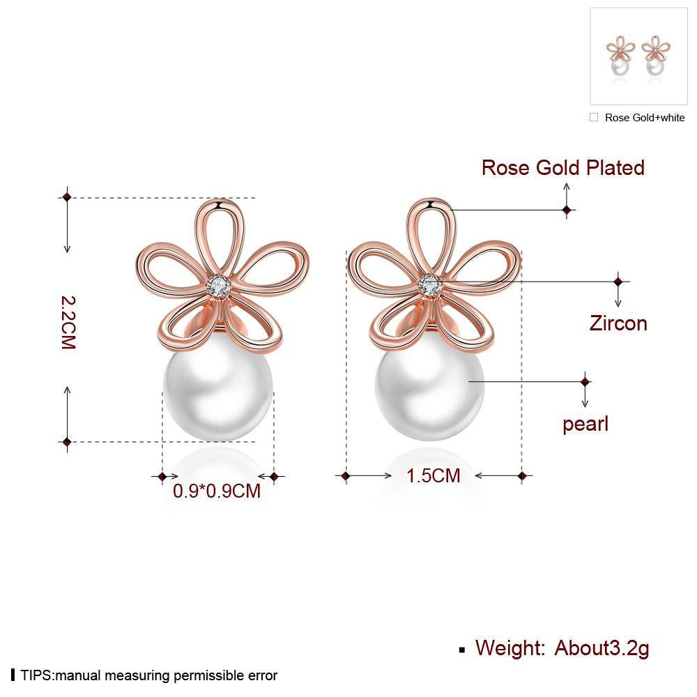 Fashion rose gold with diamonds pearl earrings - MagCloset