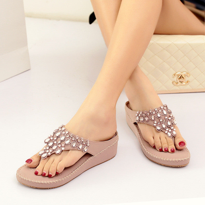 Summer Women Bohemian Crystal Sandals Flipflops Casual Cosy Leather Shoes