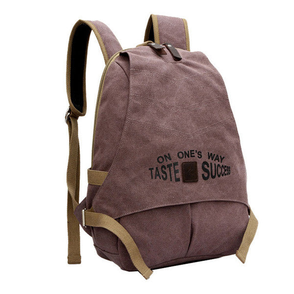 Letter Pattern Rucksack Large-Capacity Canvas Backpack For Women - MagCloset