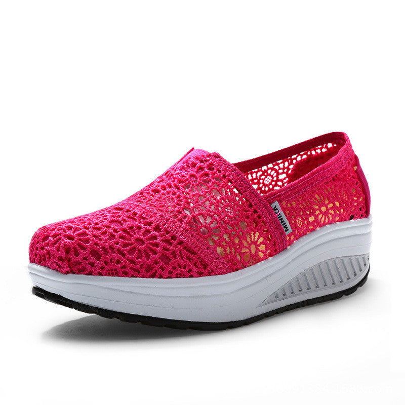 Women Lace Platform Breathable Shake Shoes