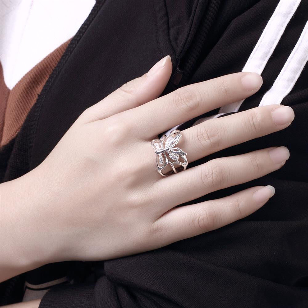 Silver plated new design finger ring for lady