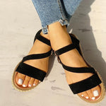 Buckled Strappy Open Toe Comfy Flat Sandals