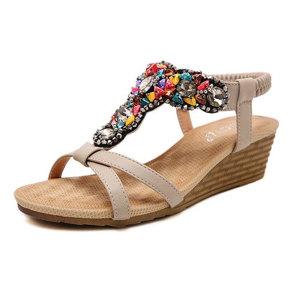 Bohemian Crystal Bead Comfortable Wedge Sandals
