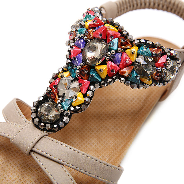 Bohemian Crystal Bead Comfortable Wedge Sandals - MagCloset