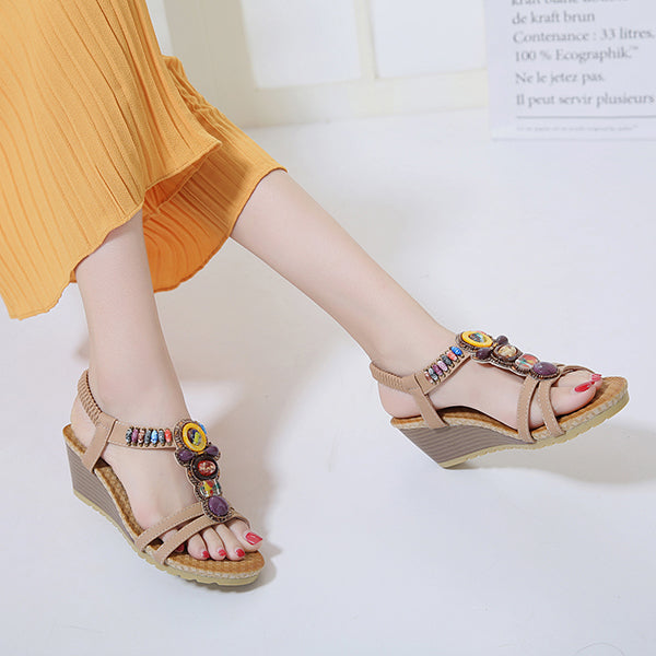 Beading Bohemian Elastic Slip On Wedge Sandals - MagCloset
