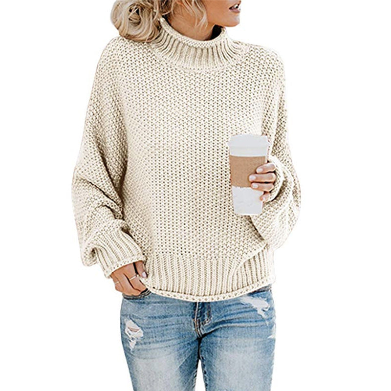 Casual High Neck Solid Color Sweaters