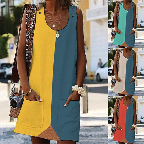 Stitching Color Pocket Sleeveless Dresses