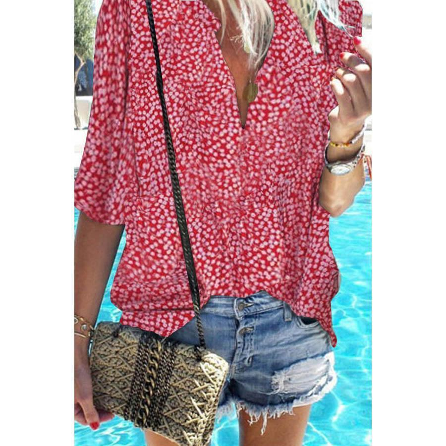 V Neck Printed Short Sleeve Blouse
