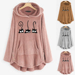 Fashion Cat Printed Fleece Hoodie