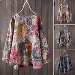 Floral Print Casual Shirt Tops Round Neck Blouse