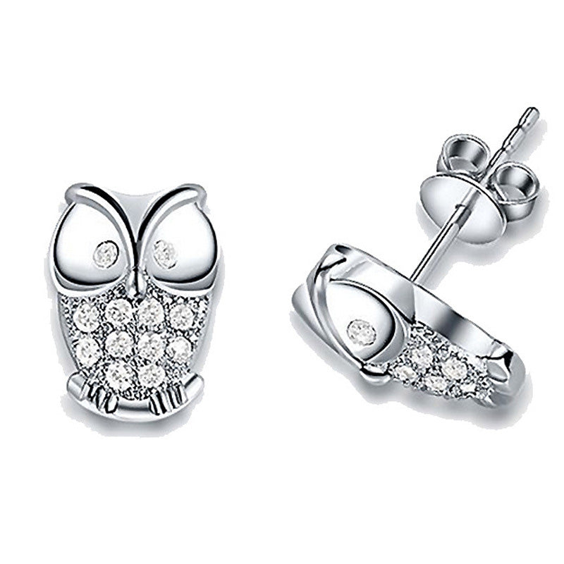 Antiallergic Silver Plated Owl Earrings Studs - MagCloset