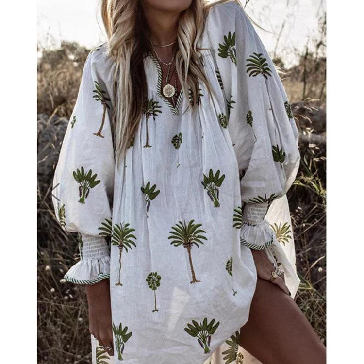 Women Boho V Neck Print Summer Casual Dresses