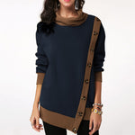 Women's Fashion Buttoned Asymmetrical Casual Sweater