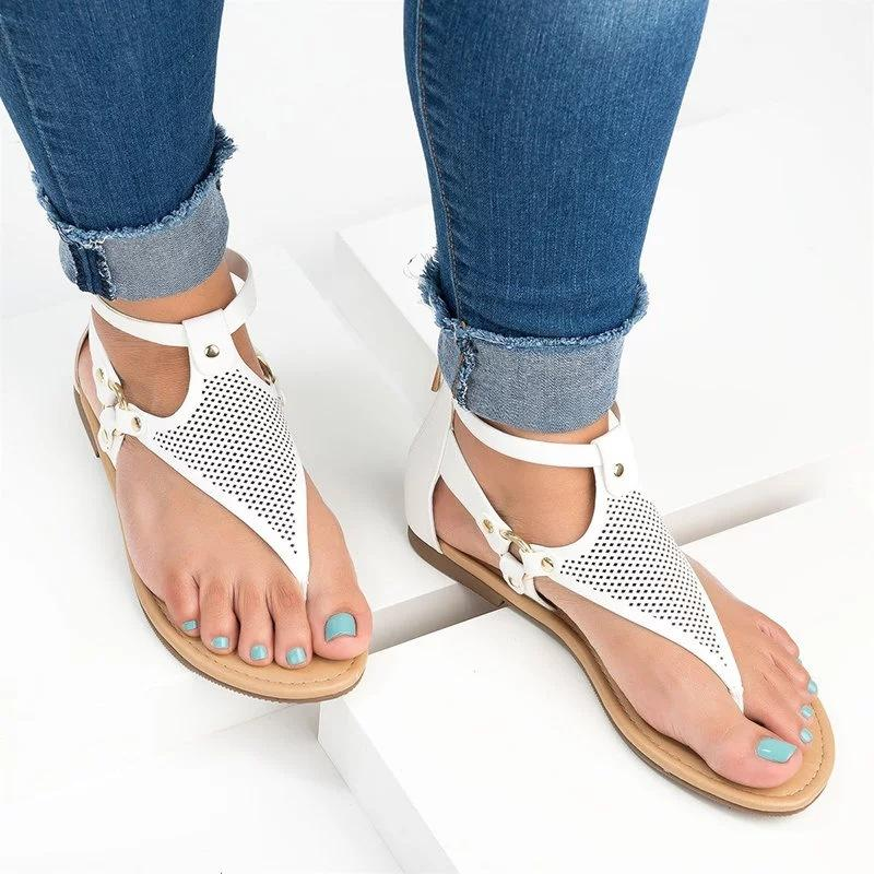 Comfortable Plain Hollow Buckle Sandals