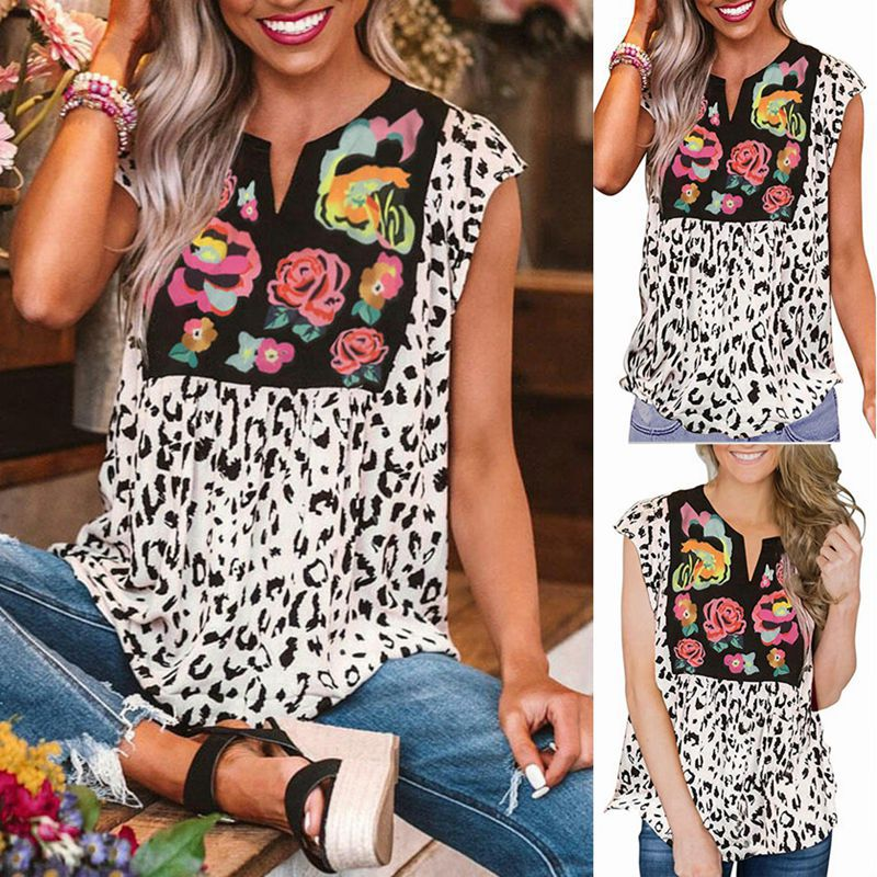 Floral Leopard Printed V-neck Casual Short Sleeve T-Shirt