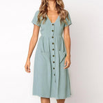 Summer Elegant V Neck Button Decorative Swing Dress