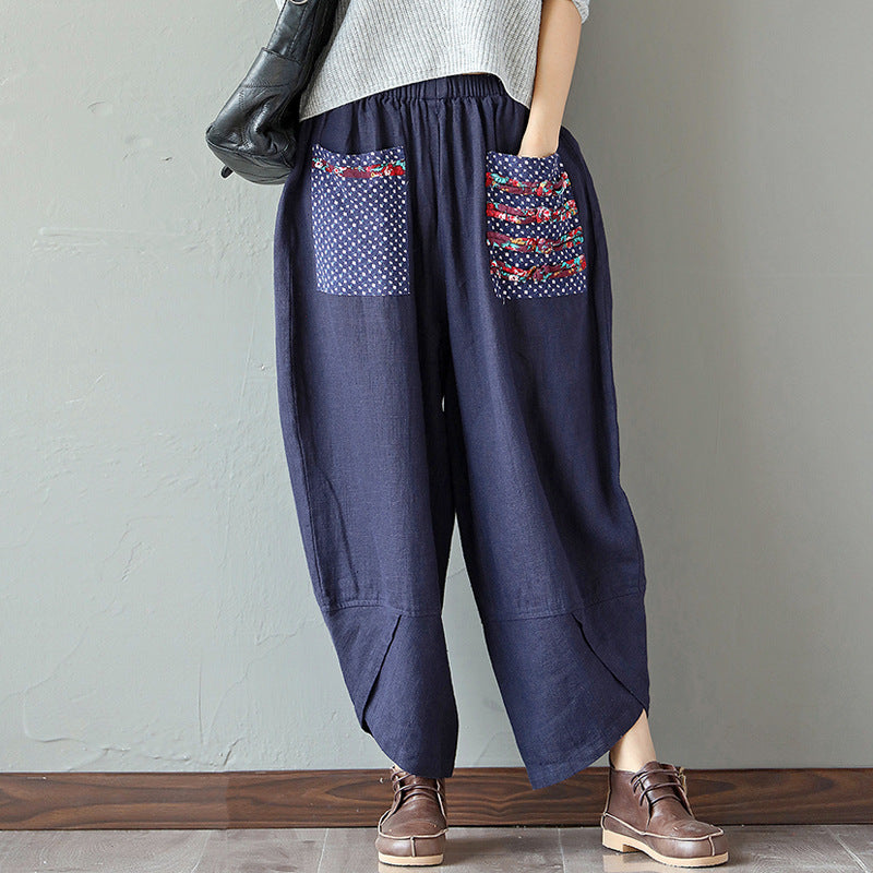 Casual Patchwork Elastic Loose Irregular Printed Pants