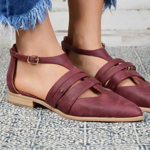 Women Pointed Toe Hollow Sandals