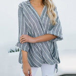 Casual Striped Asymmetric Blouses