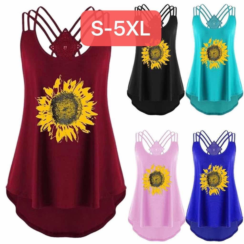 Sunflower Print Lace Vest