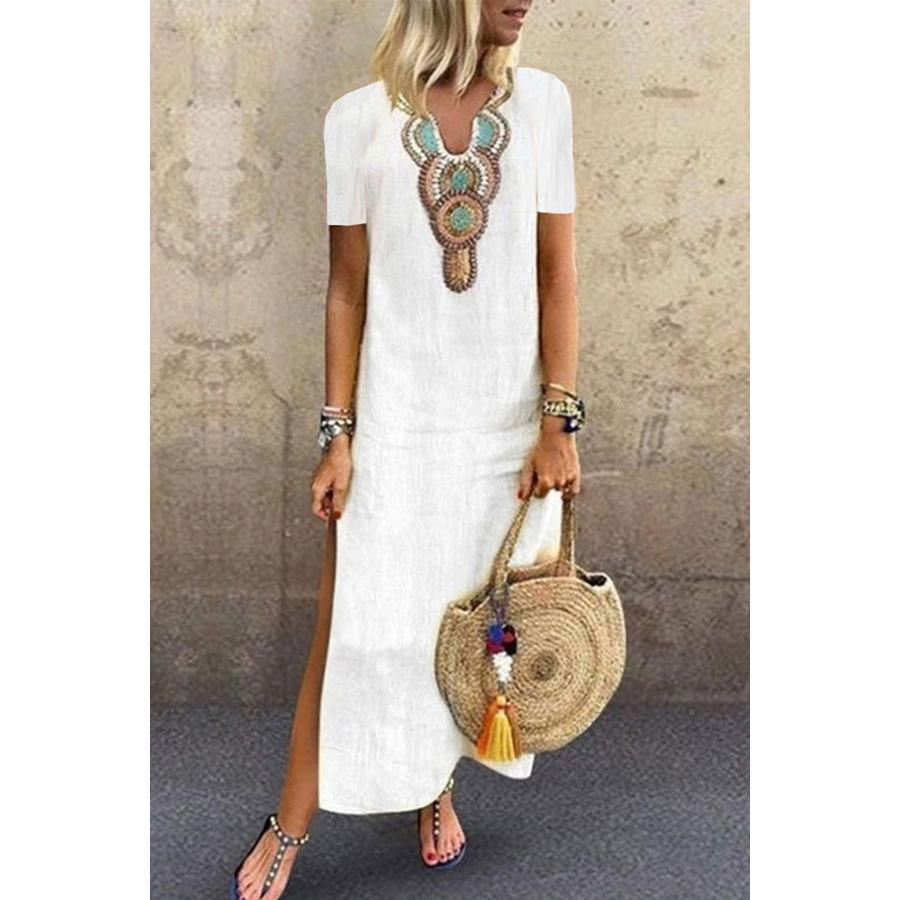 V neck Shift Women Daily Short Sleeve Slit Solid Summer Dress
