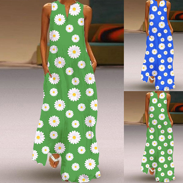 Bohemian Holiday Casual Daisy Printed Ankle-Length Dress