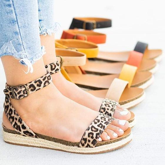 Womens Buckled Open Toe Sandals