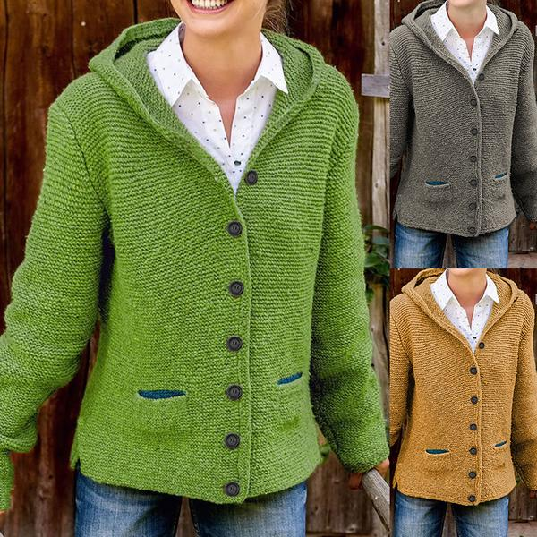 Hooded Long Sleeve Knitted Cardigan Sweaters