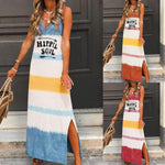 Daily Loose Sleeveless Multicolor Printed Dress