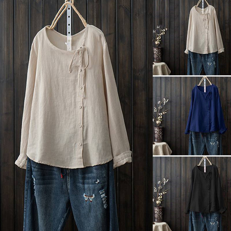 Solid Color Buttoned Long Sleeved Cotton Shirts