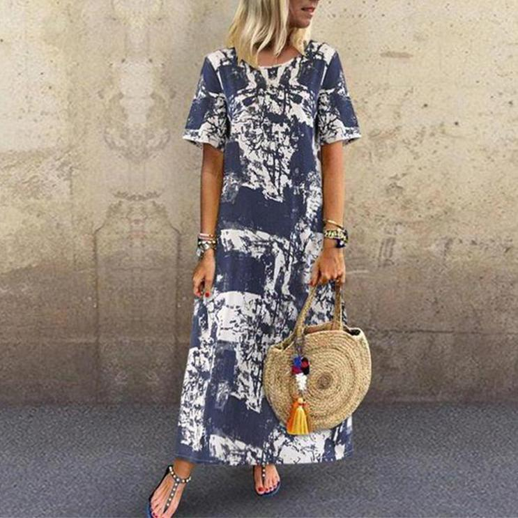 Printed Round Neck Short Sleeve Long Dress