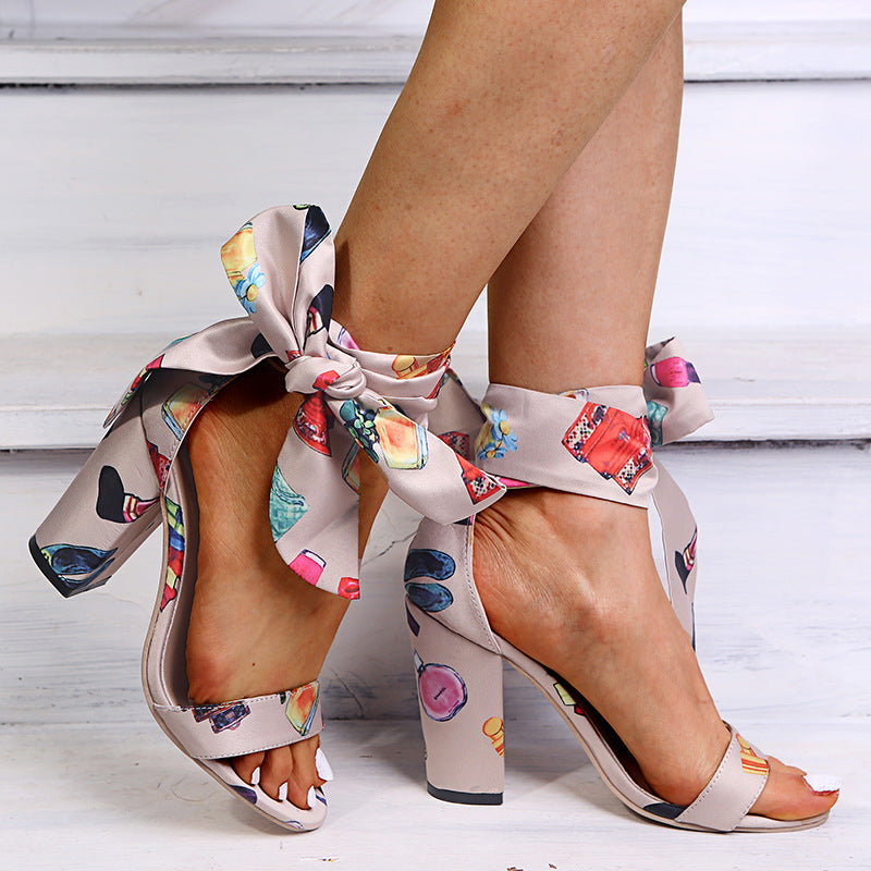 Colourful Bow-Tied High Heels Sandals