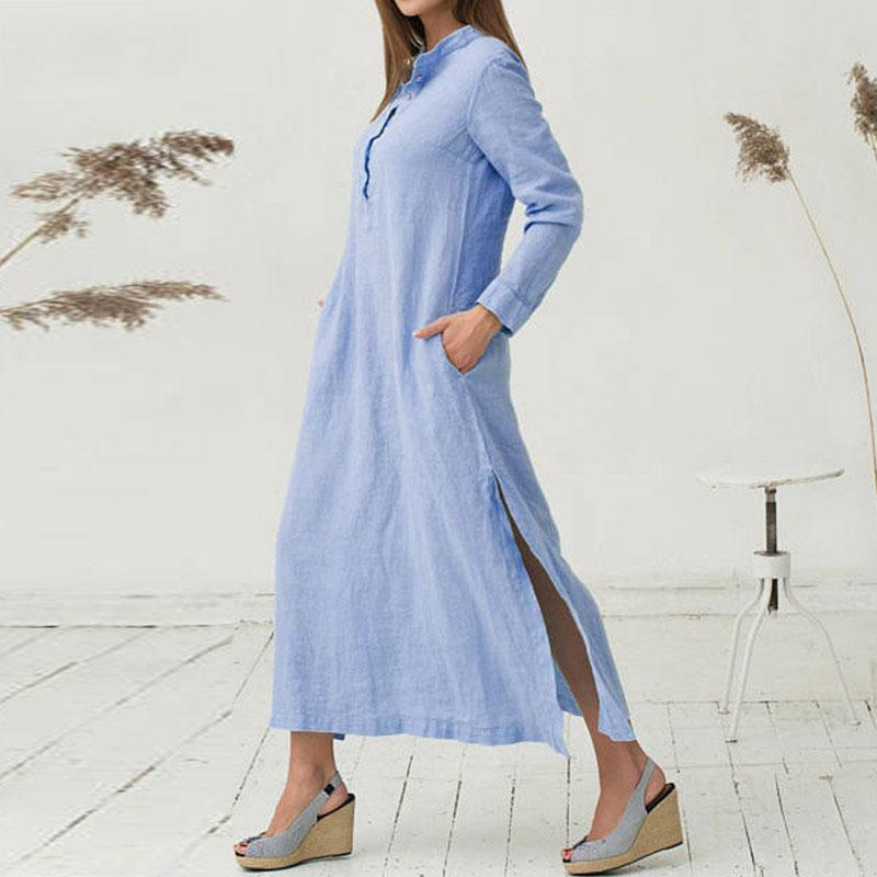 Long Sleeve Split Plain Cotton Maxi Dress