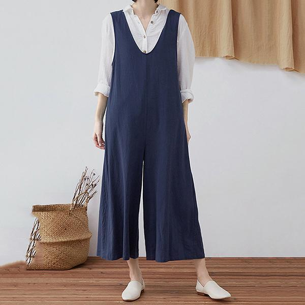 Casual V Neck Solid Color LooseJumpsuits