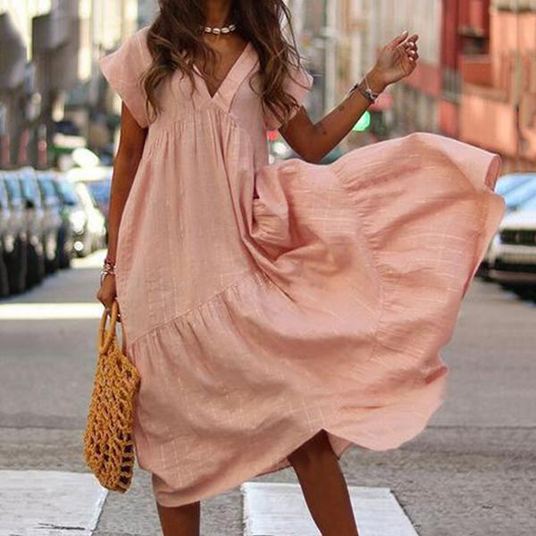 Casual V Neck Ruffle Side Dresses