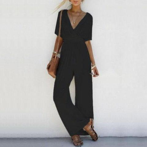 Solid Color Deep V-neck Jumpsuit