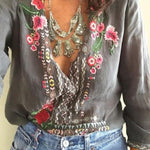 Bohemian Floral Casual V-Neckline 3/4 Sleeves Blouse Shirts