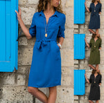Lapel Solid Three Quarter Sleeve Shirt Dress