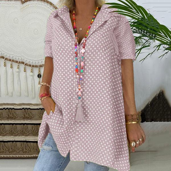 Plus Size Polka Dot Button Down Blouse